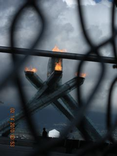 Olympic Flame behind the fence